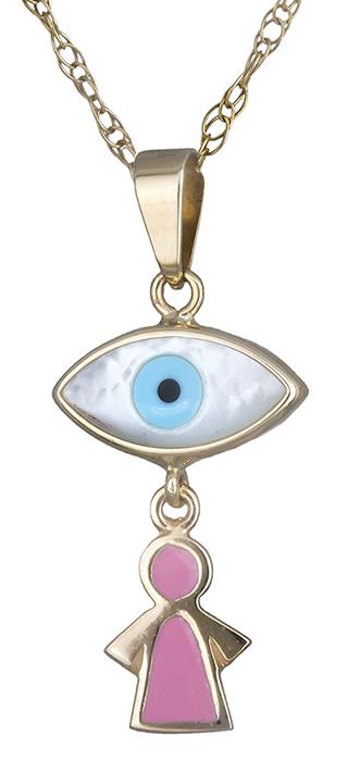 Κολιέ χρυσό με μάτι Κ14 019876 019876 Χρυσός 14 Καράτια