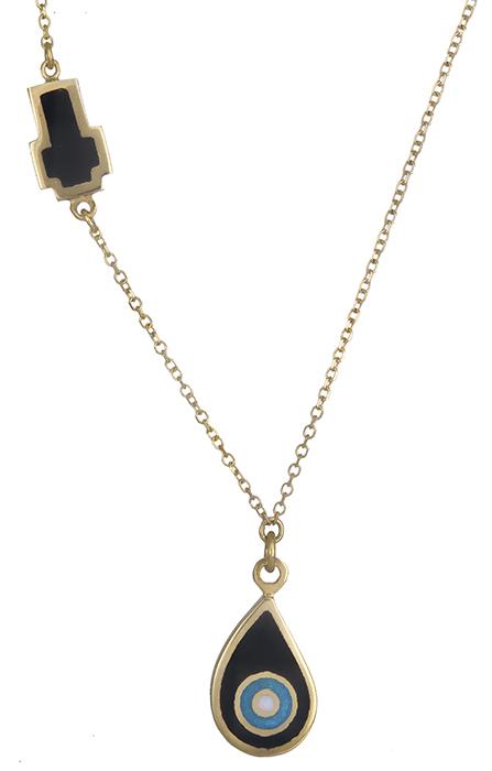 Κολιέ με ματάκι και σταυρό Κ14 019897 019897 Χρυσός 14 Καράτια χρυσά κοσμήματα κολιέ