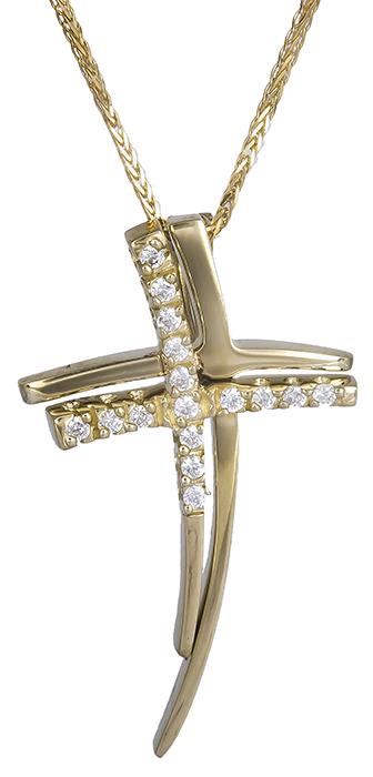 Βαπτιστικοί Σταυροί με Αλυσίδα Χρυσός γυναικείος σταυρός Κ14 C019956 019956C Γυναικείο Χρυσός 14 Καράτια