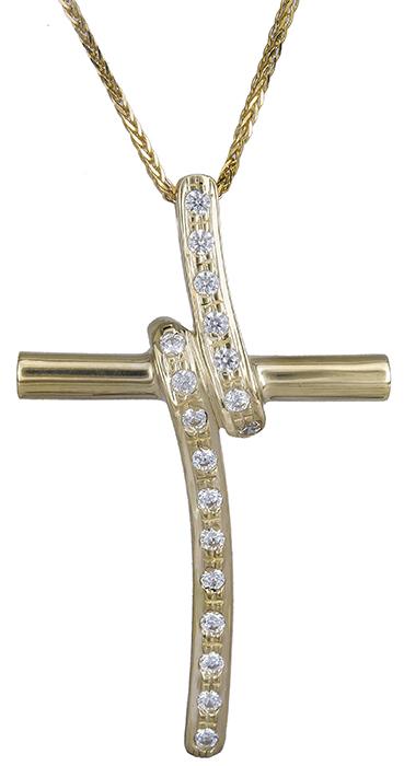 Βαπτιστικοί Σταυροί με Αλυσίδα Πετράτος γυναικείος σταυρός Κ9 C019962 019962C Γυναικείο Χρυσός 9 Καράτια
