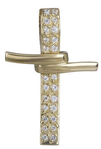 Σταυροί Βάπτισης - Αρραβώνα Γυναικείος σταυρός με ζιργκόν Κ14 019963 019963 Γυναικείο Χρυσός 14 Καράτια