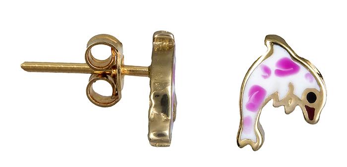 Παιδικά σκουλαρίκια καρδούλες 020118 20118 Χρυσός 14 Καράτια