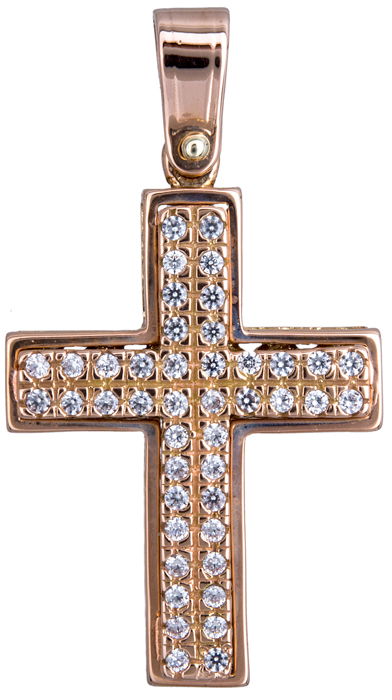 Σταυροί Βάπτισης - Αρραβώνα Ροζ gold γυναικείος σταυρός με ζιργκόν 14Κ 020127 020127 Γυναικείο Χρυσός 14 Καράτια