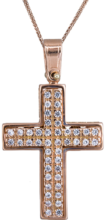 Βαπτιστικοί Σταυροί με Αλυσίδα Βαπτιστικός σταυρός για κορίτσι σε ροζ χρυσό 14Κ C020127 020127C Γυναικείο Χρυσός 14 Καράτια