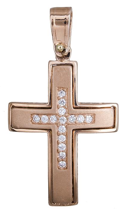 Σταυροί Βάπτισης - Αρραβώνα Γυναικείος ροζ σταυρός με ζιργκόν 14Κ 020128 020128 Γυναικείο Χρυσός 14 Καράτια