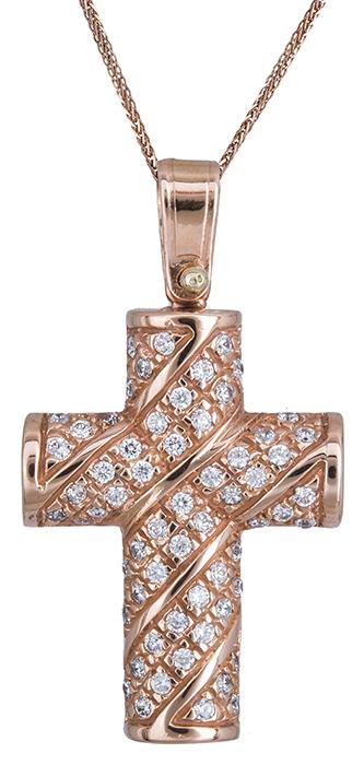 Βαπτιστικοί Σταυροί με Αλυσίδα Πετράτος γυναικείος σταυρός Κ14 C020129 020129C Γυναικείο Χρυσός 14 Καράτια