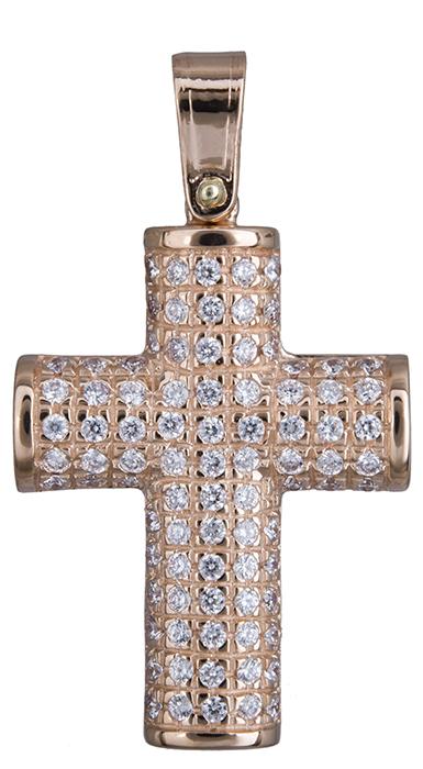 Σταυροί Βάπτισης - Αρραβώνα Πετράτος σταυρός σε ροζ χρυσό 14Κ 020131 020131 Γυναικείο Χρυσός 14 Καράτια