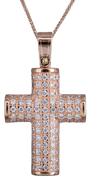 Βαπτιστικοί Σταυροί με Αλυσίδα Πετράτος ροζ γυναικείος σταυρός Κ14 C020131 020131C Γυναικείο Χρυσός 14 Καράτια