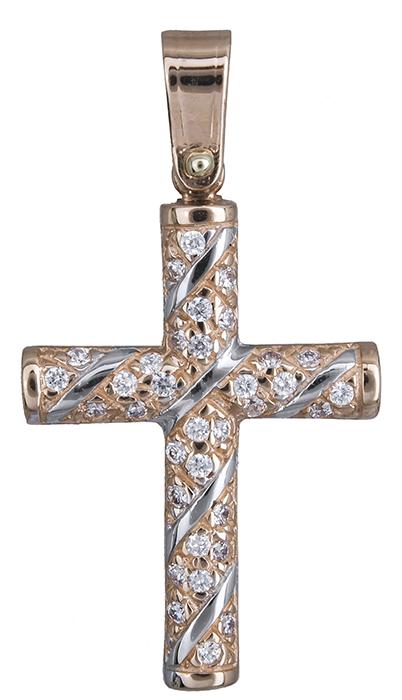 Σταυροί Βάπτισης - Αρραβώνα Ροζ gold σταυρός με πέτρες Κ14 020132 020132 Γυναικείο Χρυσός 14 Καράτια