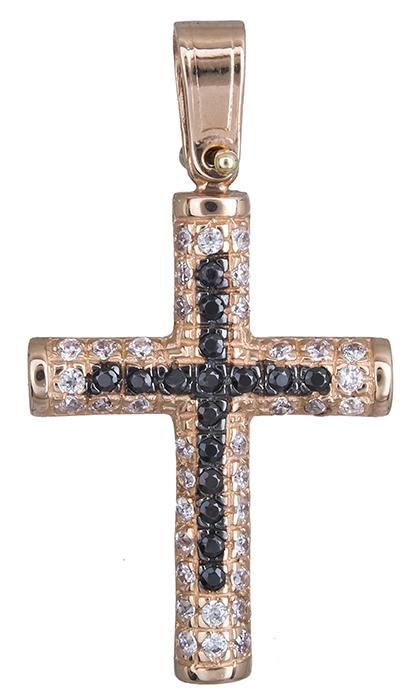 Σταυροί Βάπτισης - Αρραβώνα Ροζ gold πετράτος σταυρός με πέτρες Κ14 020133 020133 Γυναικείο Χρυσός 14 Καράτια