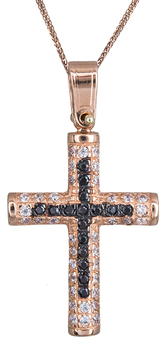 Βαπτιστικοί Σταυροί με Αλυσίδα Ροζ χρυσός γυναικείος σταυρός 14Κ C020133 020133C Γυναικείο Χρυσός 14 Καράτια