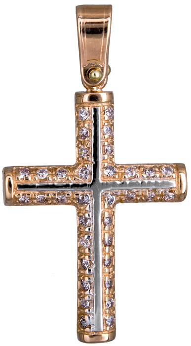 Σταυροί Βάπτισης - Αρραβώνα Γυναικείος σταυρός σε ροζ χρυσό Κ14 020134 020134 Γυναικείο Χρυσός 14 Καράτια
