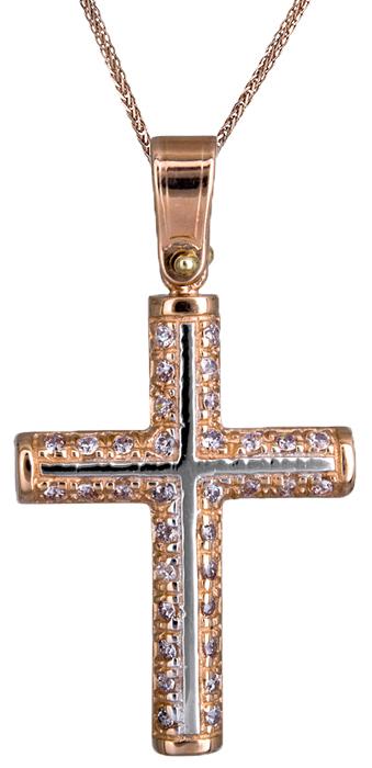 Βαπτιστικοί Σταυροί με Αλυσίδα Γυναικείος σταυρός με καδένα Κ14 C020134 020134C Γυναικείο Χρυσός 14 Καράτια