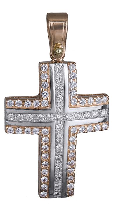 Σταυροί Βάπτισης - Αρραβώνα Γυναικείος σταυρός δίχρωμος Κ14 020135 020135 Γυναικείο Χρυσός 14 Καράτια