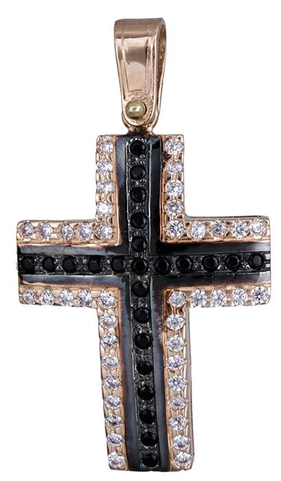 Σταυροί Βάπτισης - Αρραβώνα Γυναικείος δίχρωμος σταυρός Κ14 020137 020137 Γυναικείο Χρυσός 14 Καράτια