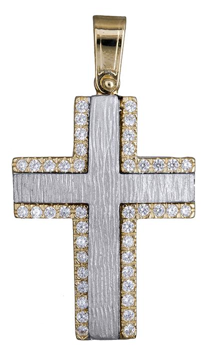 Σταυροί Βάπτισης - Αρραβώνα Δίχρωμος σταυρός για κορίτσι 14Κ 020139 020139 Γυναικείο Χρυσός 14 Καράτια