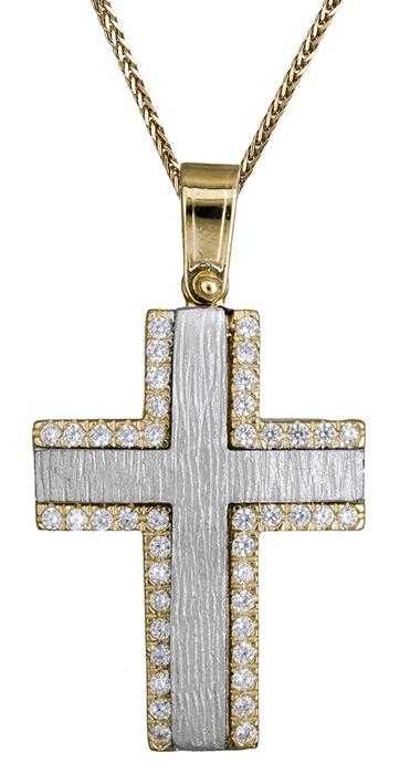Βαπτιστικοί Σταυροί με Αλυσίδα Γυναικείος δίχρωμος σταυρός 14Κ C020139 020139C Γυναικείο Χρυσός 14 Καράτια
