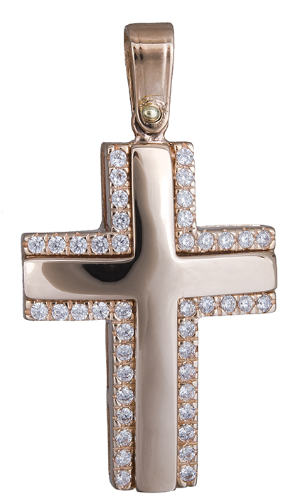 Σταυροί Βάπτισης - Αρραβώνα Γυναικείος σταυρός σε ροζ χρυσό 14Κ 020141 020141 Γυναικείο Χρυσός 14 Καράτια