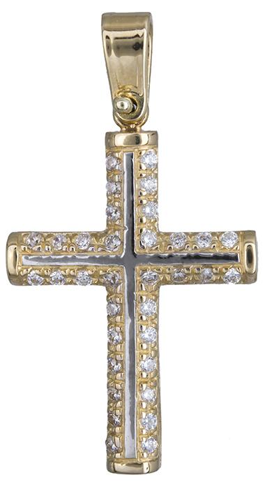 Σταυροί Βάπτισης - Αρραβώνα Γυναικείος σταυρός δίχρωμος με ζιργκόν Κ14 020142 020142 Γυναικείο Χρυσός 14 Καράτια