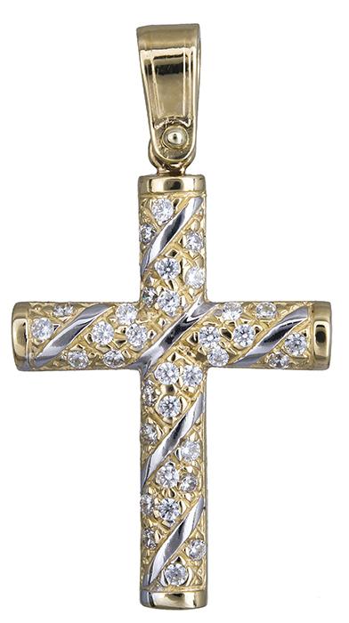 Σταυροί Βάπτισης - Αρραβώνα Γυναικείος σταυρός σε διχρωμία Κ14 020143 020143 Γυναικείο Χρυσός 14 Καράτια