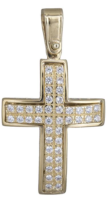 Σταυροί Βάπτισης - Αρραβώνα Πετράτος σταυρός για κορίτσι Κ14 020144 020144 Γυναικείο Χρυσός 14 Καράτια