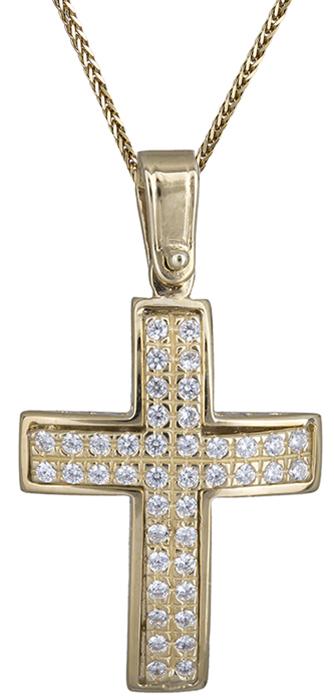 Βαπτιστικοί Σταυροί με Αλυσίδα Γυναικείος σταυρός σε χρυσό Κ14 C020144 020144C Γυναικείο Χρυσός 14 Καράτια