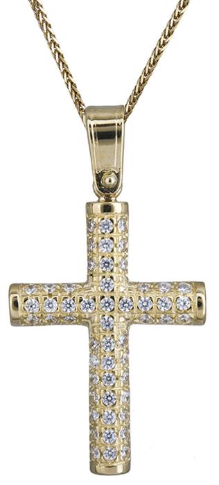 Βαπτιστικοί Σταυροί με Αλυσίδα Χρυσός γυναικείος σταυρός με καδένα Κ14 C020146 020146C Γυναικείο Χρυσός 14 Καράτια