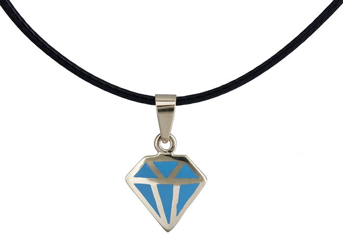 Κολιέ διαμάντι με σμάλτο Κ14 020147 020147 Χρυσός 14 Καράτια