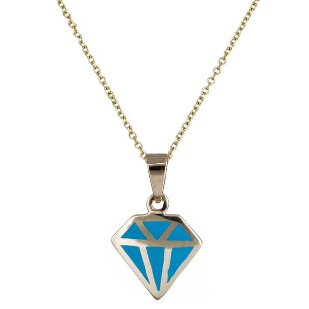 Κολιέ με γαλάζιο διαμάντι 14Κ C020147 020147C Χρυσός 14 Καράτια