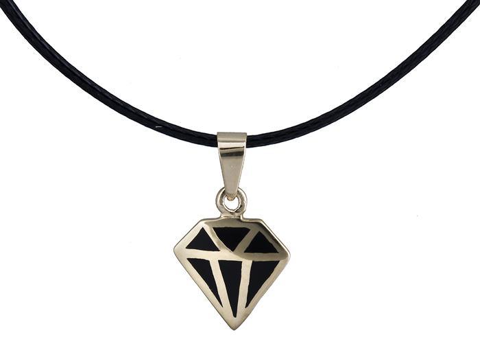 Κολιέ διαμάντι με μαύρο σμάλτο Κ14 020148 020148 Χρυσός 14 Καράτια