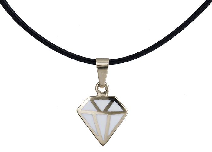 Κολιέ διαμάντι με λευκό σμάλτο Κ14 020149 020149 Χρυσός 14 Καράτια