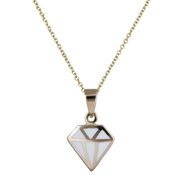 Γυναικείο Κολιέ με άσπρο διαμάντι Κ14 C020149 020149C Χρυσός 14 Καράτια