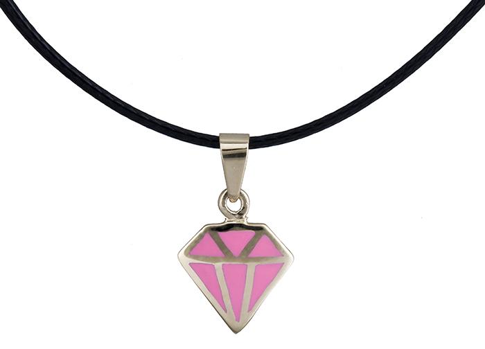 Κολιέ διαμάντι με ροζ σμάλτο Κ14 020150 020150 Χρυσός 14 Καράτια