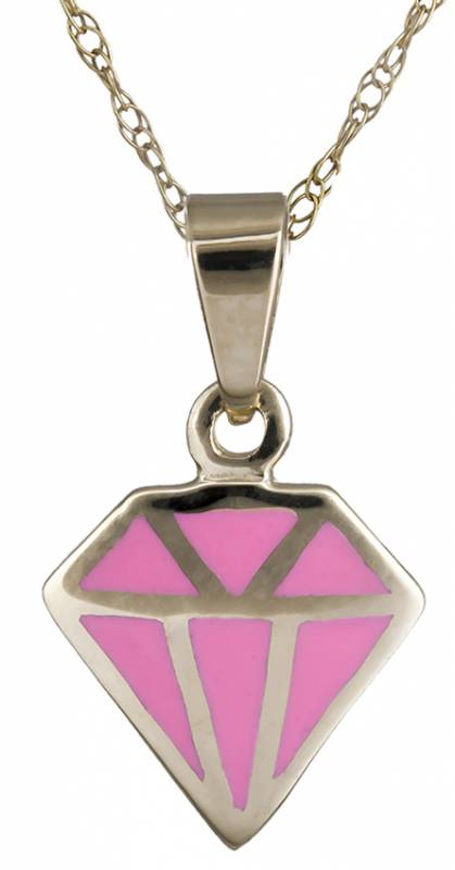 Κολιέ χρυσό Κ14 με ροζ διαμάντι C020150 020150C Χρυσός 14 Καράτια
