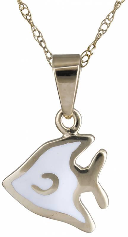 Κολιέ ψαράκι από άσπρο σμάλτο 14Κ C020153 020153C Χρυσός 14 Καράτια