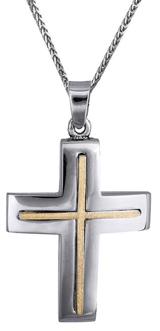 Βαπτιστικοί Σταυροί με Αλυσίδα Αντρικός σταυρός δίχρωμος 14Κ C020176 020176C Ανδρικό Χρυσός 14 Καράτια