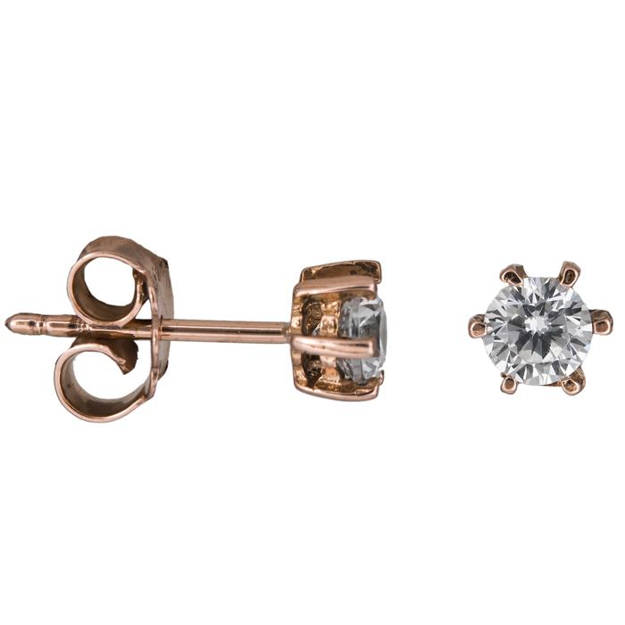 Σκουλαρίκια σε ροζ χρυσό 14Κ 020180 020180 Χρυσός 14 Καράτια χρυσά κοσμήματα σκουλαρίκια καρφωτά