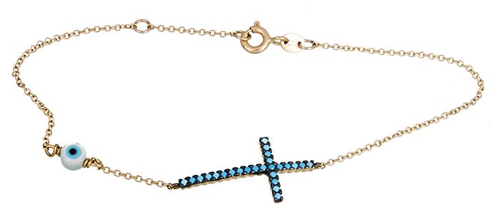 Χρυσό βραχιόλι με τυρκουάζ σταυρό Κ14 020209 020209 Χρυσός 14 Καράτια