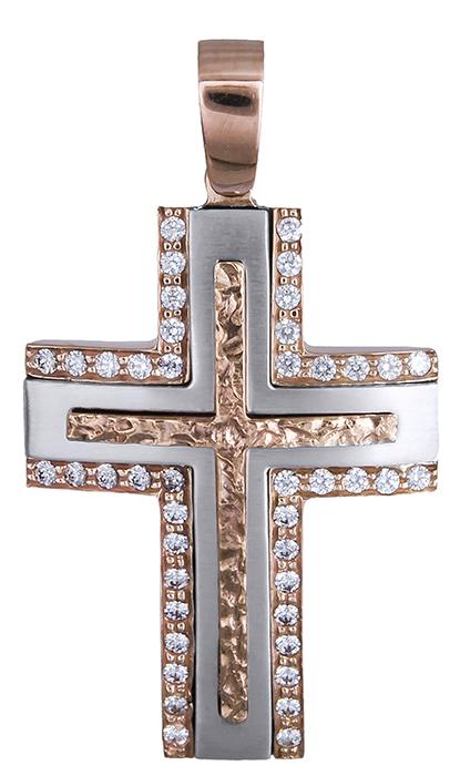 Σταυροί Βάπτισης - Αρραβώνα Γυναικείος ροζ gold σταυρός 14Κ 020306 020306 Γυναικείο Χρυσός 14 Καράτια