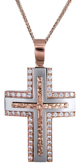 Βαπτιστικοί Σταυροί με Αλυσίδα Γυναικείος σταυρός 14Κ C020306 020306C Γυναικείο Χρυσός 14 Καράτια