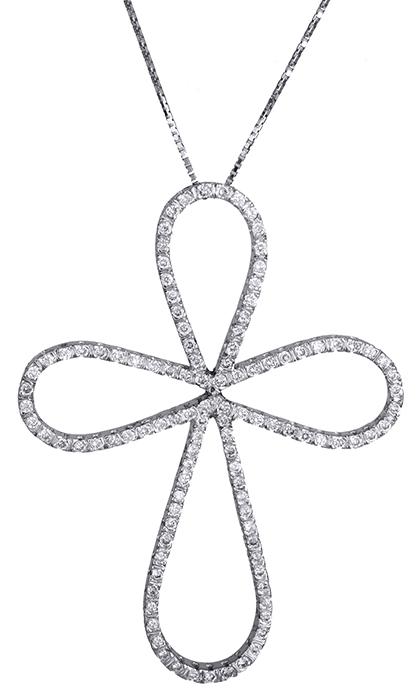 Βαπτιστικοί Σταυροί με Αλυσίδα Λευκόχρυσος σταυρός με διαμάντια Κ18 020310 020310 Γυναικείο Χρυσός 18 Καράτια