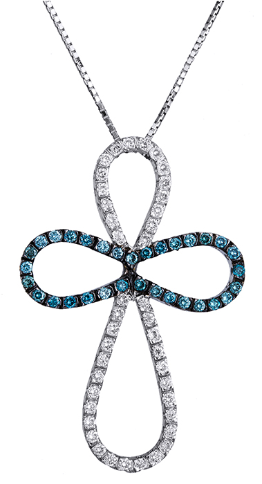 Βαπτιστικοί Σταυροί με Αλυσίδα Γυναικείος σταυρός με λευκά και μπλε διαμάντια Κ18 020311 020311 Γυναικείο Χρυσός 18 Καράτια