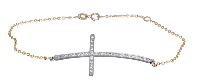 Βραχιόλι δίχρωμο σταυρός 14Κ 020322 020322 Χρυσός 14 Καράτια χρυσά κοσμήματα βραχιόλια