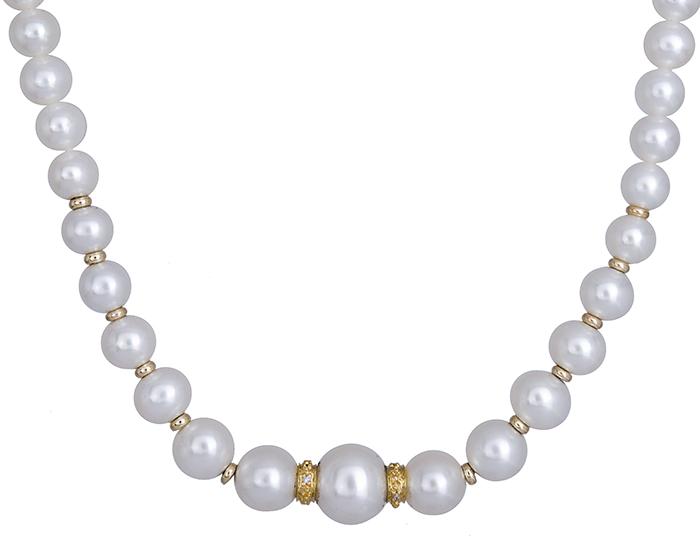 Κολιέ με μαργαριτάρια και διαμάντια 020341 020341 Χρυσός 18 Καράτια