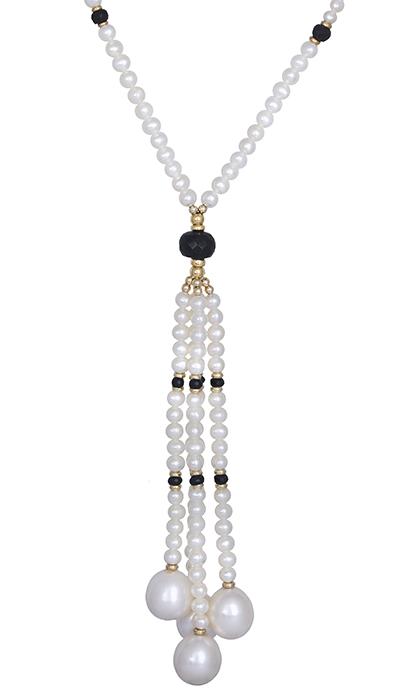 Κολιέ με μαργαριτάρια και ζαφείρια Κ14 020344 020344 Χρυσός 14 Καράτια