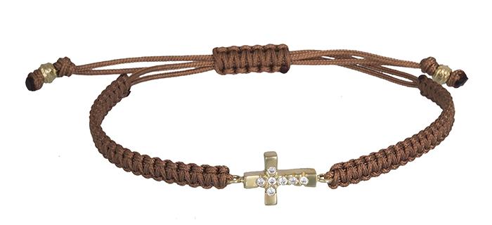 Βραχιόλι μακραμέ με σταυρό 14Κ 020358 020358 Χρυσός 14 Καράτια