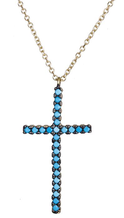 Κολιέ χρυσό με τυρκουάζ σταυρό Κ14 020402 020402 Χρυσός 14 Καράτια