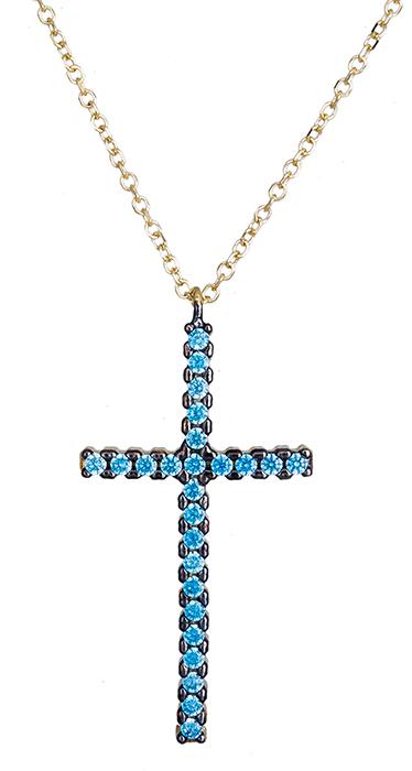 Κολιέ χρυσό με πετράτο σταυρό Κ14 020405 020405 Χρυσός 14 Καράτια