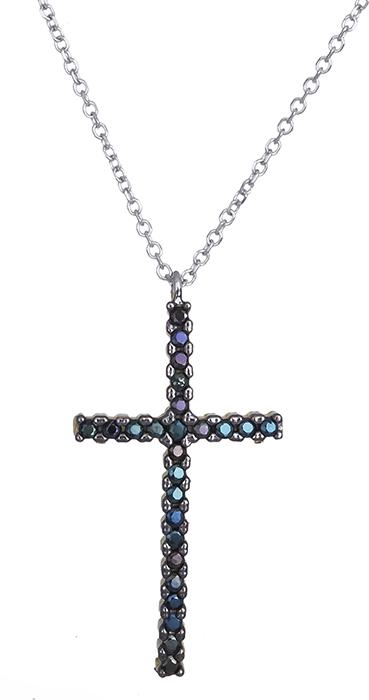 Λευκόχρυσος σταυρός με μαύρες πέτρες Κ14 020408 020408 Χρυσός 14 Καράτια