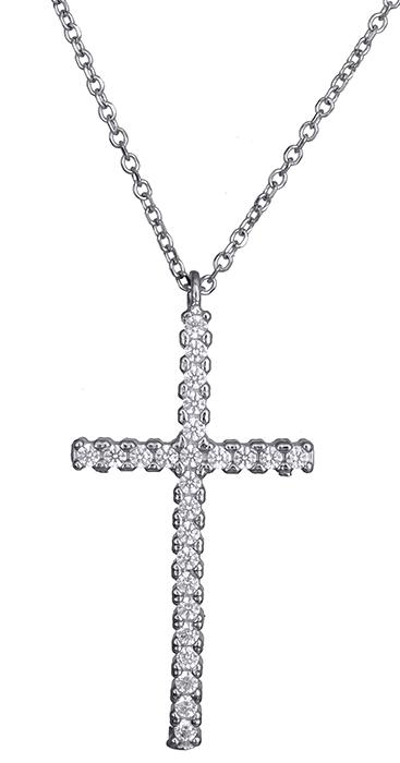 Λευκόχρυσος κολιέ με πετράτο σταυρός 14Κ 020409 020409 Χρυσός 14 Καράτια χρυσά κοσμήματα κολιέ